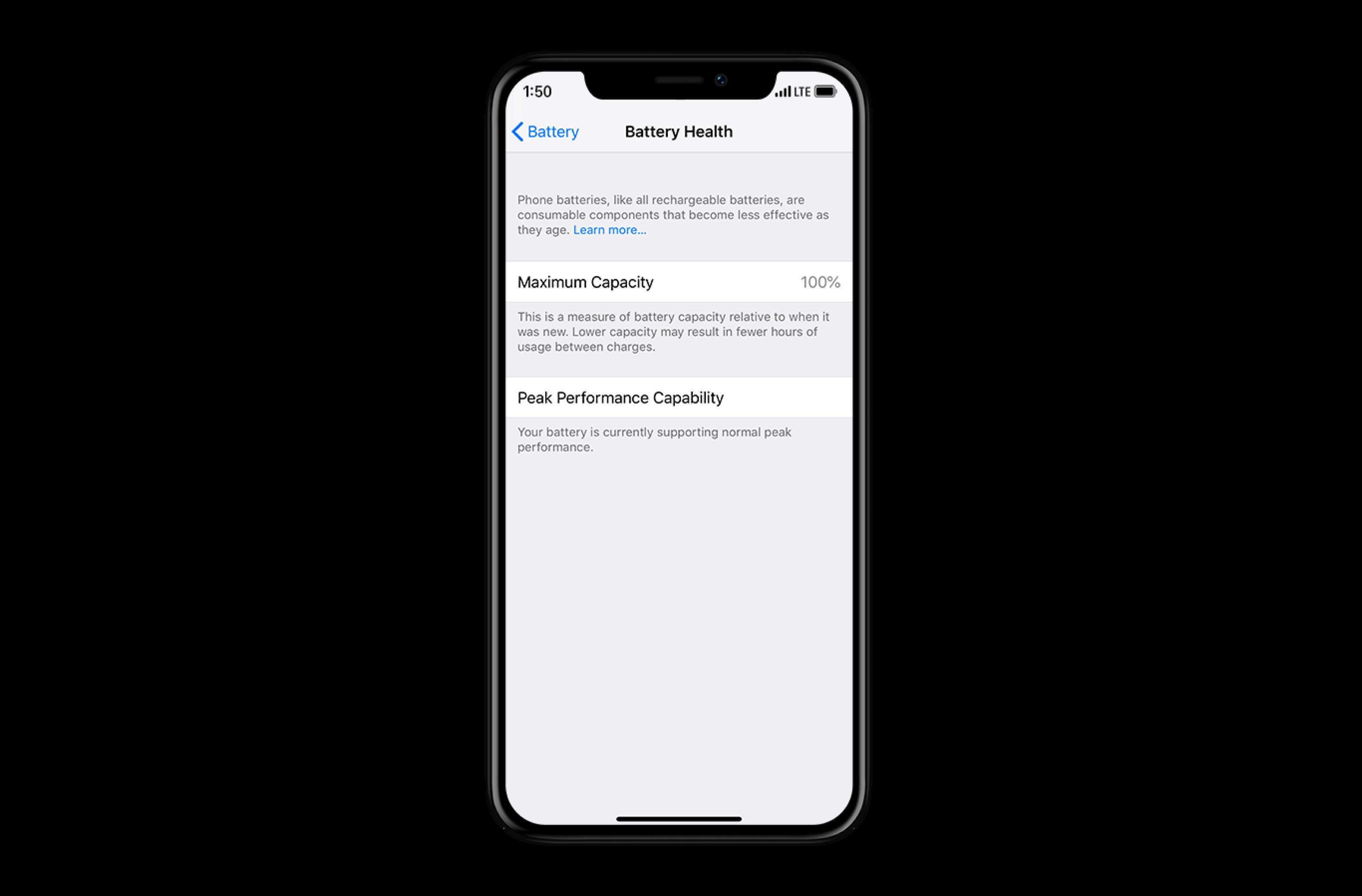 iOS 13 battery health